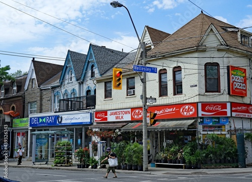 Fototapeta premium Neighborhood shopping district with independent small businesses, Cabbagetown district of Toronto