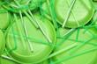 Leinwandbild Motiv Different green plastic items as background, closeup