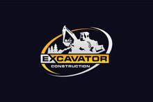 Backhoe Logo Template Vector. Heavy Equipment Logo Vector For Construction Company. Creative Backhoe Illustration For Logo Template.