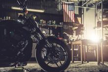 Modern Motorcycle In A Garage
