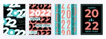 Posters 2022 Design. Happy New 22 Year, Calendar Cover Template. Branding Business Brochures, Minimal Greeting Cards With Numbers Recent Vector Set