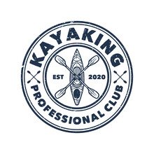 Logo Design Kayaking Professional Club With Kayak And Paddle With Black And White Vintage Illustration