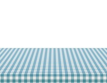Picnic Tablecloth. Retro White Blue Cloth Squares Texture. Desk Canvas Or Pattern Blanket. Clean Surface With Textile, Template For Ad Restaurant Cafe Menu Vector Banner