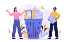 Male And Female Characters Are Standing Next To Trash Bucket With Document Papers