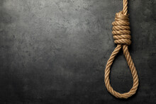 Rope Noose With Knot On Grey Table, Top View. Space For Text