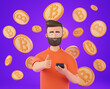Leinwandbild Motiv Cartoon beard character man hold smartphone and show thumb up over bitcoins and purple background. Cryptocurrency invest and investment concept.