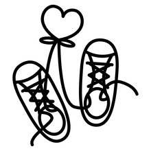 Pair Of Sneaker Shoes Tie With Heart Line Icon