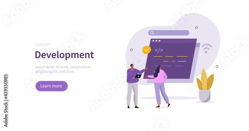 People characters learning programming. Students solving mathematical algorithms, coding program code, improving skills. Learn to code concept. Flat cartoon vector illustration.