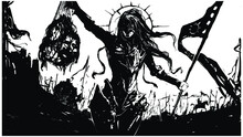 The Black Silhouette Of A Sinister Female Knight In Demonic Armor And Mask, Sh Holds A Net With Severed Heads In One Hand And A Long Flag In The Other, Behind Her Is The Army Of Darkness . 2d