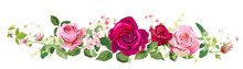 Panoramic View: Bouquet Of Roses, Spring Blossom, Gypsophila. Horizontal Border: Pink, Red Flowers, Buds, Green Leaves On White Background. Digital Draw Illustration Watercolor Style, Vintage, Vector