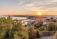 Soleil Couchant Sur Nice Et La Côte D'Azur