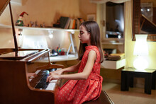 Musician Playing Grand Piano In A Wealthy House