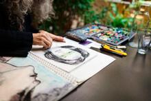 Artist Working In Her Atelier