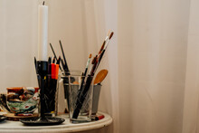 Details Of Painter Studio With Paintbrushes