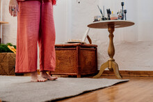 Close-up Of Woman Doing Yoga At Home
