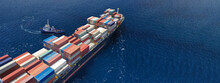 Aerial Drone Ultra Wide Top Down Photo Of Tow - Tug Boat Assisting By Pulling Or Pushing Container Ship To Anchor In Terminal Port