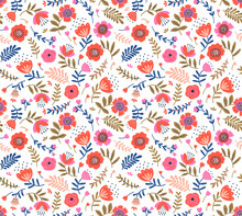 Vector Seamless Pattern. Folk Pattern In Small Flowers. Small Red And Pink Flowers. White Background. Ditsy Floral Background. The Elegant The Template For Fashion Prints. Stock Vector.
