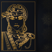 Graphic Drawing With Indian Motifs. Vector Illustration