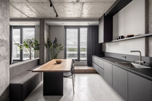 Interior In Loft Style With Concrete Elements