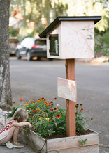 A Free Library And Flower Garden