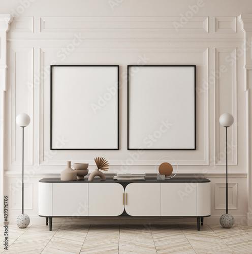 Fotografia mock up poster frame in modern interior background, living room, minimalistic st