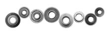 Metal Gears, Cogwheels Isolated On White Background Collage. Spare Parts Banner.