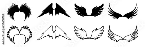 Fotografiet wing illustration vector collection