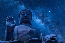 The Big Tian Tan Buddha At Po Lin Monastery In Hong Kong During Night Time. Beautiful Night Sky With Stars And Milky Way