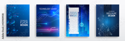 Wallpaper Mural Blue layout futuristic brochures, flyers, placards