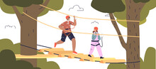 Kids Have Fun In Rope Park. Small Boy And Girl In Helmets Climbing High On Robes In Park Or Forest