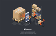 Conceptual Art Of QR Code On Package For Sale With Three Characters. Isometric Vector Composition, Cartoon 3D Style Illustration. Warehouse Interior, Parcels And Big Cardboard Box. Barcode And Scanner