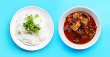 Rice Noodles With Northern Thai Pork Curry On Blue Background.
