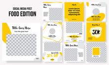 Set Of Editable Square Instagram Post Food Milestone, Promo, Quote, Engagement, Moodboard, Testimonial, Education Design Vector Template