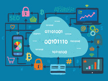 Cloud Computing Network And Fintech Concept