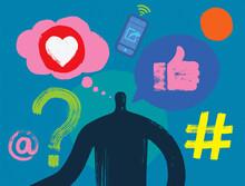 Illustration Of Man Surrounded By Social Media Symbols