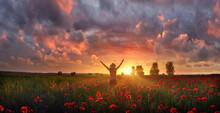Joyful Woman Feels Delight Among Poppies At Summer Sunset