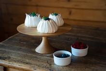 Pavlova Desserts On Pastry Plate