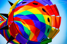 Very Colorful Kites Dance In The Wind On Beautiful Day For Festival.