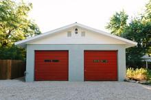 Garage With Red Doors