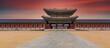 Leinwandbild Motiv Gyeongbok palace in Seoul City, Gyeongbokgung palace landmark of Seoul, South Korea, Korean wooden traditional house in Gyeongbokgung the main royal palace of Joseon dynasty.