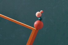 Abstract Composition With Basic Shapes, Standing On Top Of Each Other, Maintaining Balance