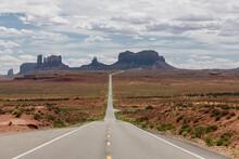 Long Open Desert Road In Monument Valley
