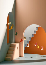 The Building Style Modern With Butterflies On Colorful Background