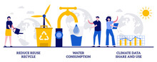 Reduce Reuse Recycle, Water Consumption, Climate Data Share And Use Concept With Tiny People. Save The Planet Vector Illustration Set. Upcycling Program, Weather Forecast, Overconsumption Metaphor
