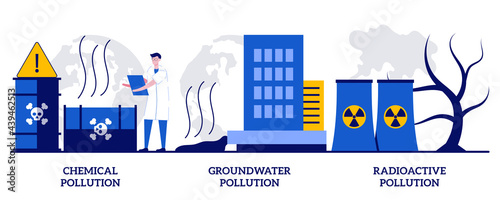 Cuadros en Lienzo Chemical, groundwater and radioactive pollution concept with tiny people