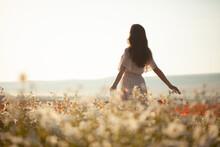 Beautiful Girl In Summer Dress Walks In A Flower Field