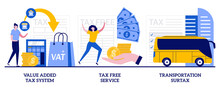 Value Added Tax System, Tax Free Service, Transportation Surtax Concept With Tiny People. Taxation Control Vector Illustration Set. Retail Good Purchase, Refunding VAT, Transit Service Fee Metaphor