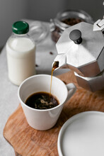 Set Of Morning Coffee With Milk