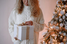 Woman Holding Chistmas Gift