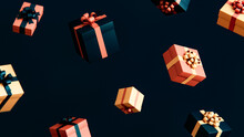 Falling Gift Boxes With Ribbons